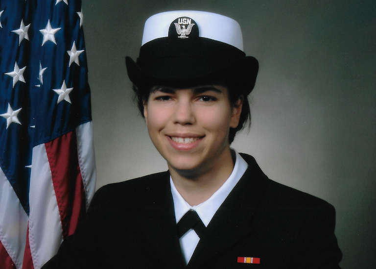 Anna Deak wearing a Navy uniform