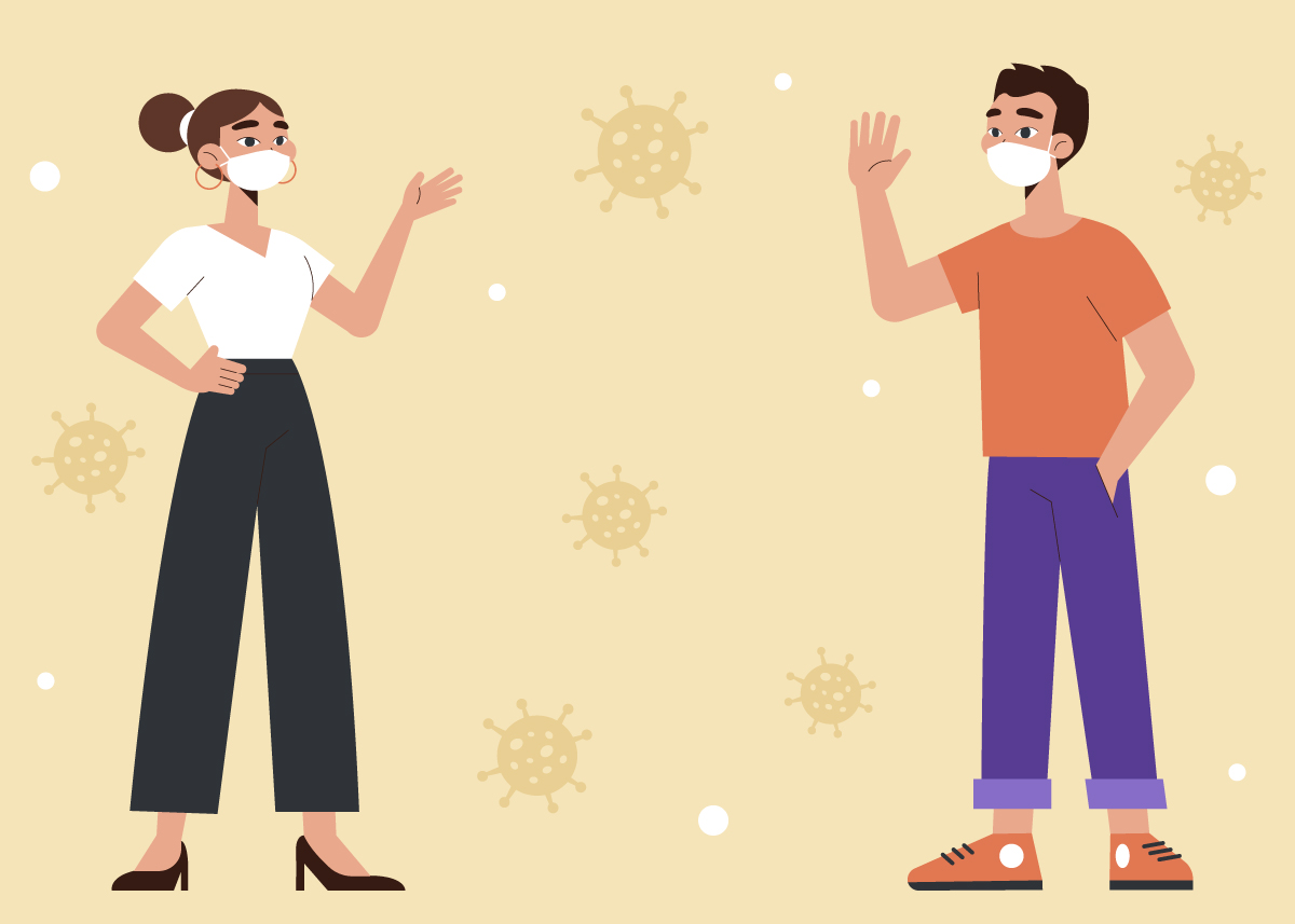 illustration of man facing woman distanced with virus particles surrounding them