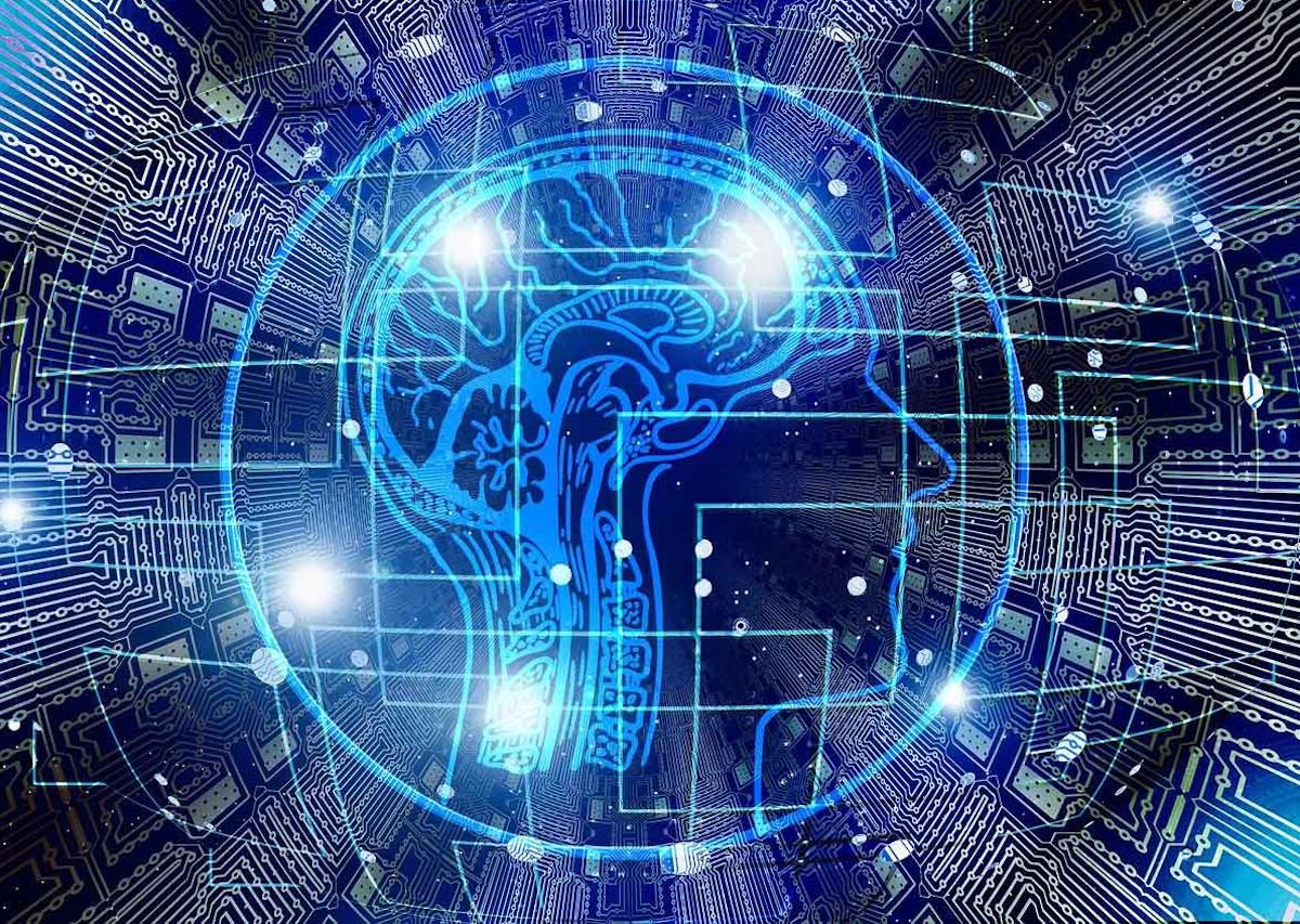 brain graphic in microchip