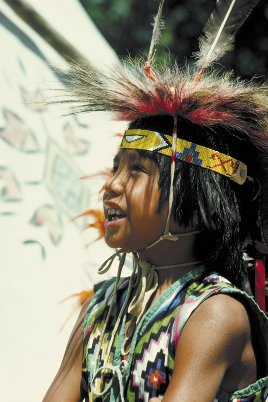 Young Native child wearing traditional clothing