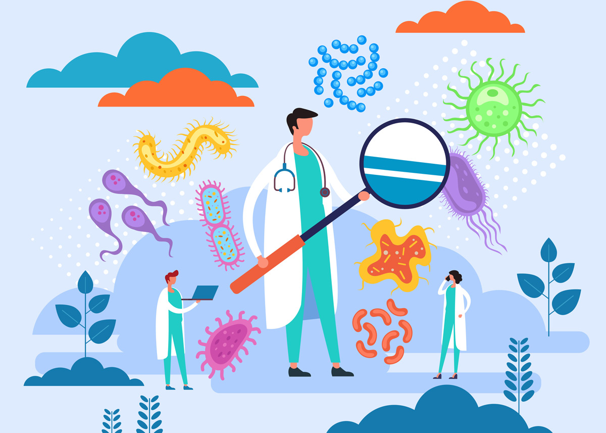 illustration of epidemiology with person, microscope, and viruses