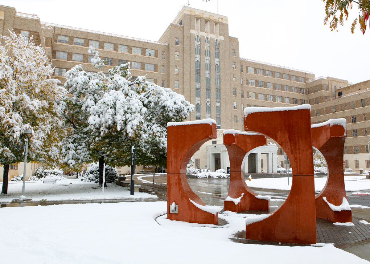 Fitzsimons building in winter on CU Anschutz Medical Campus