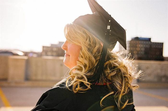 woman with graduation cap on