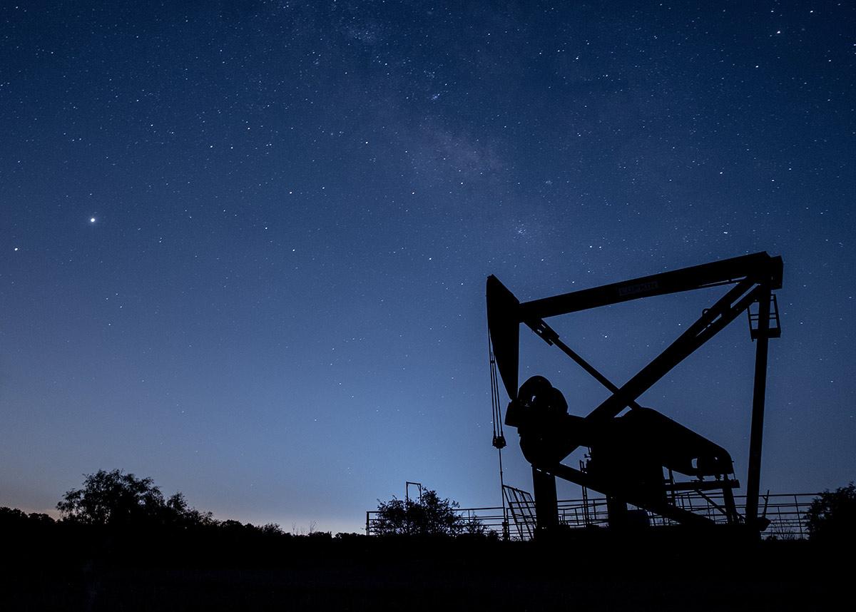 oil drill at night