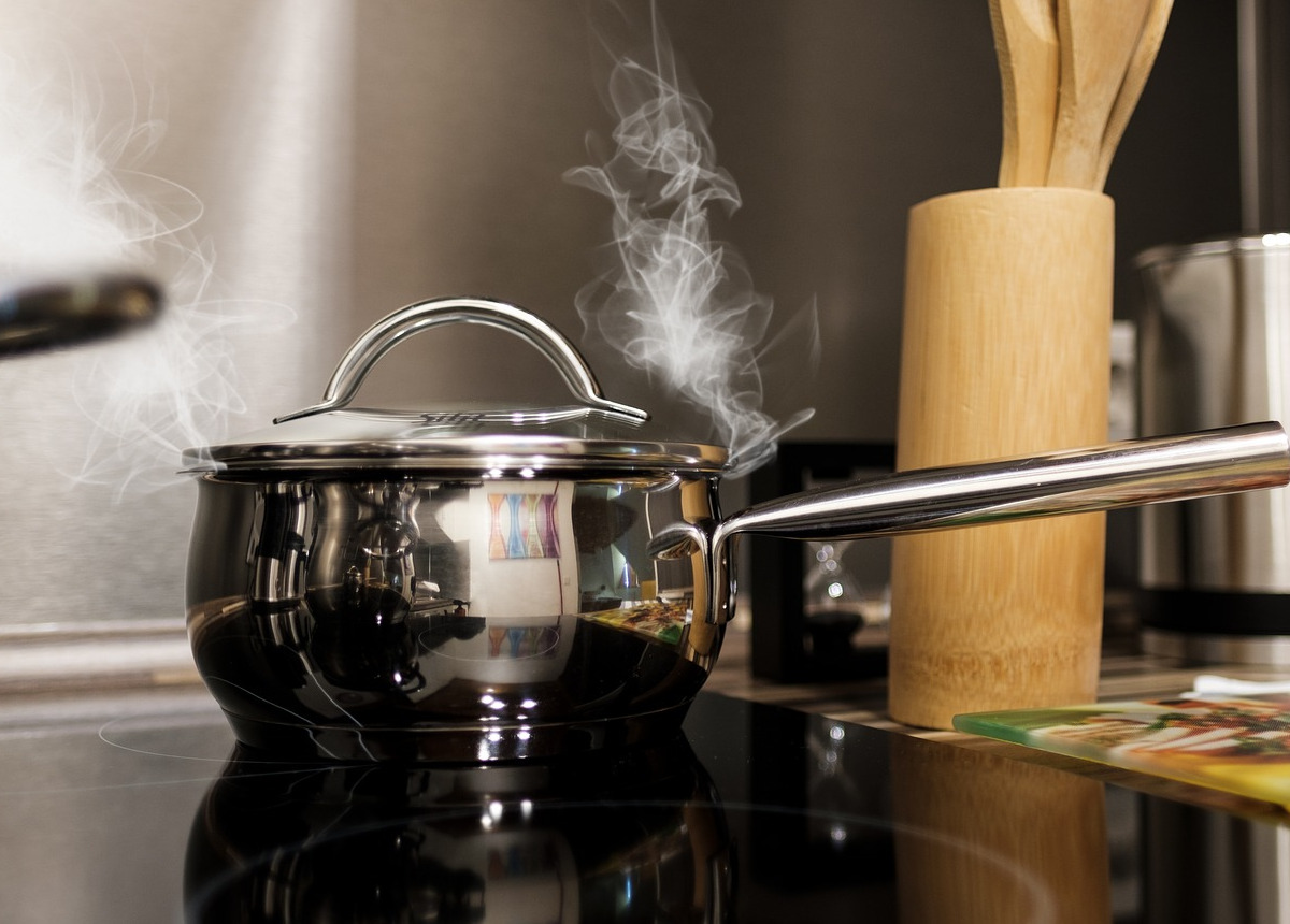 pot steaming on stove