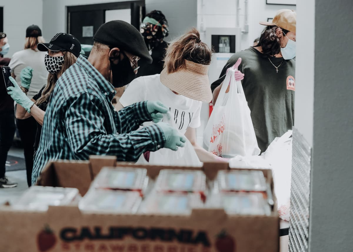 People working together at a food bank