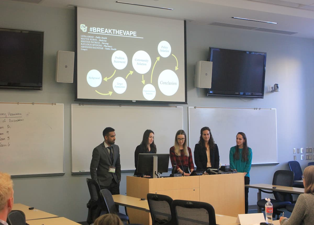 Students presenting at case competition
