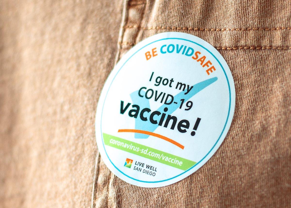 "sticker that reads, ""I got my COVID-19 vaccine!"""