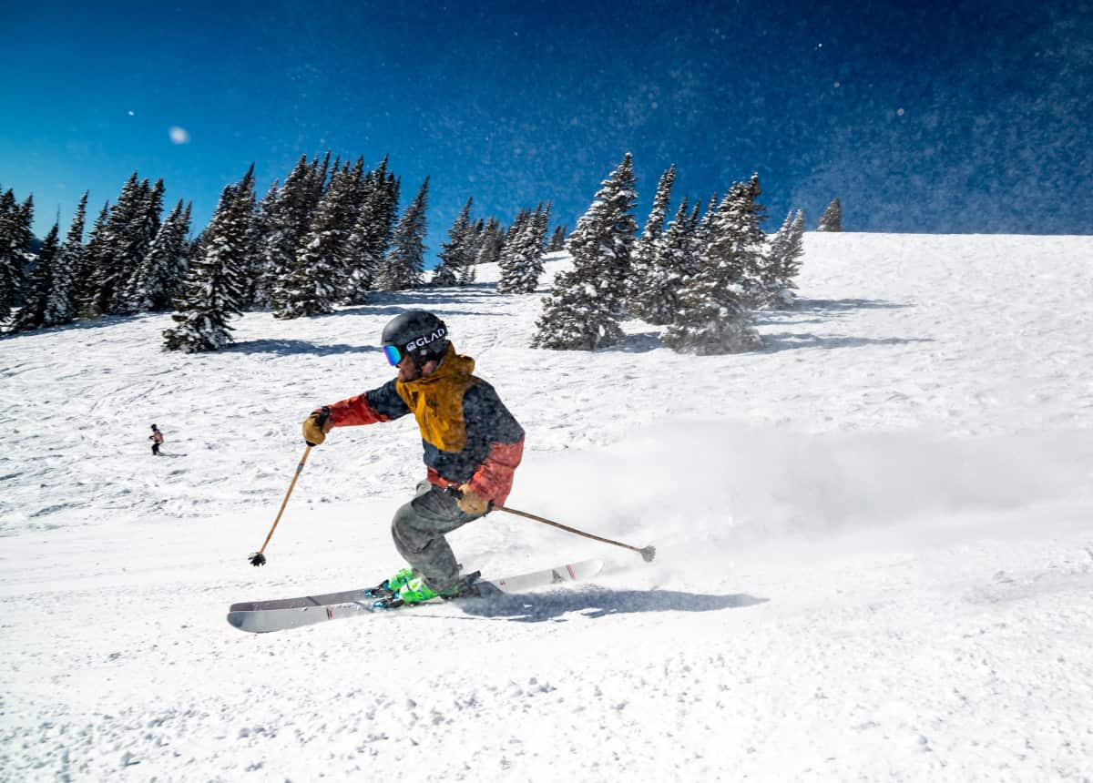 Skier on slopes in Vail Colorado