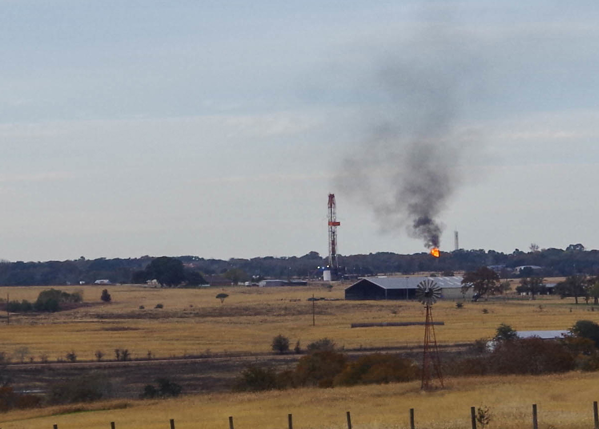 firing off gas at a fracking site