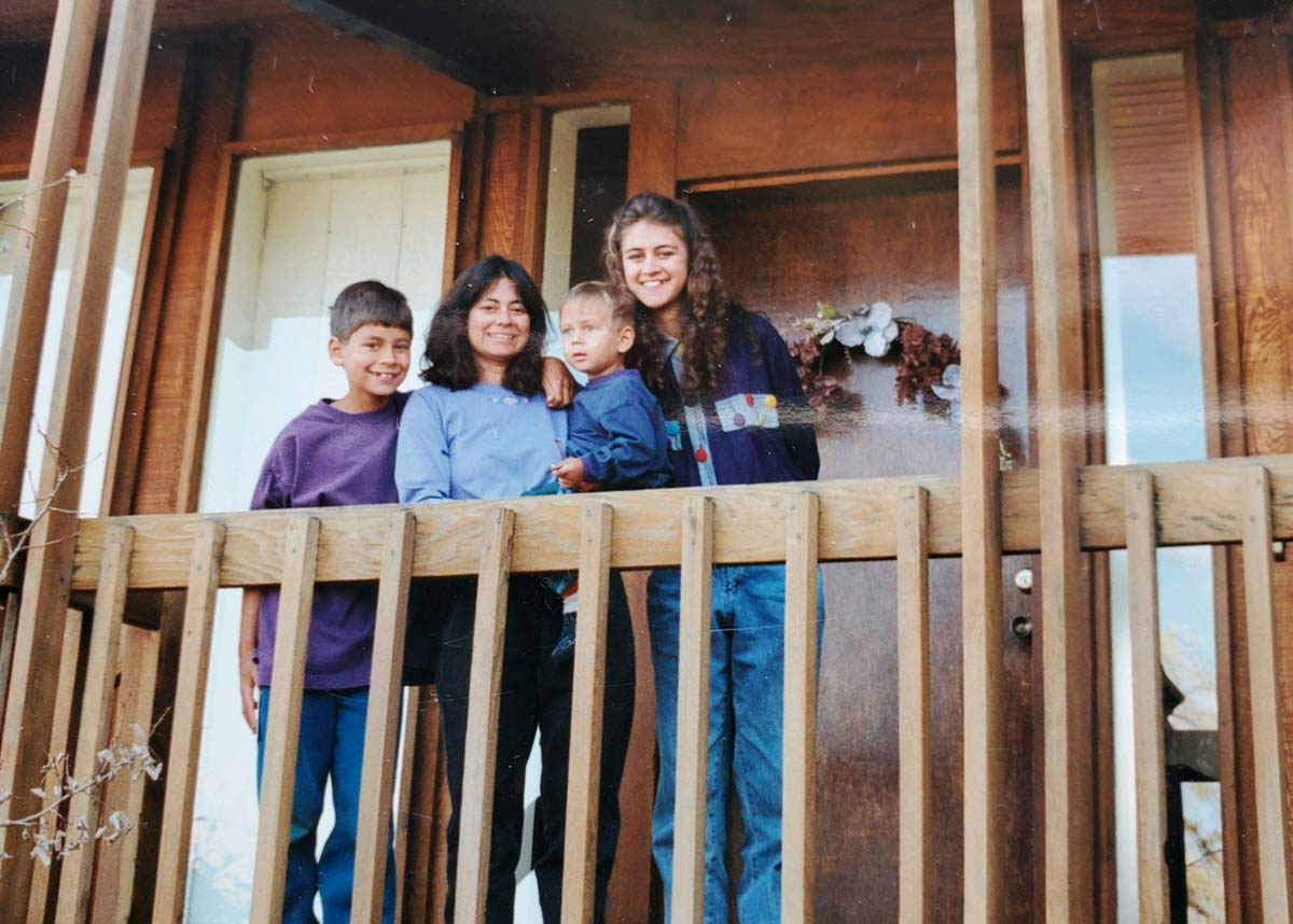 Dr. Dickinson and her family in the Table Mesa area of Boulder in 1993