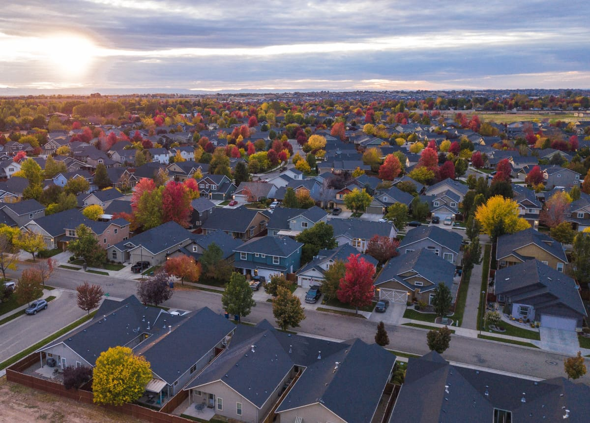 suburb of houses with colorful trees