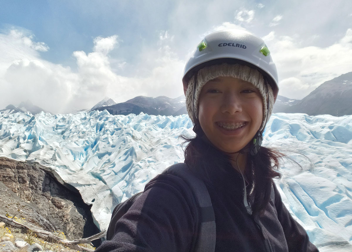 June Homdayjanakul at Perito Mereno Glacier in Patagonia