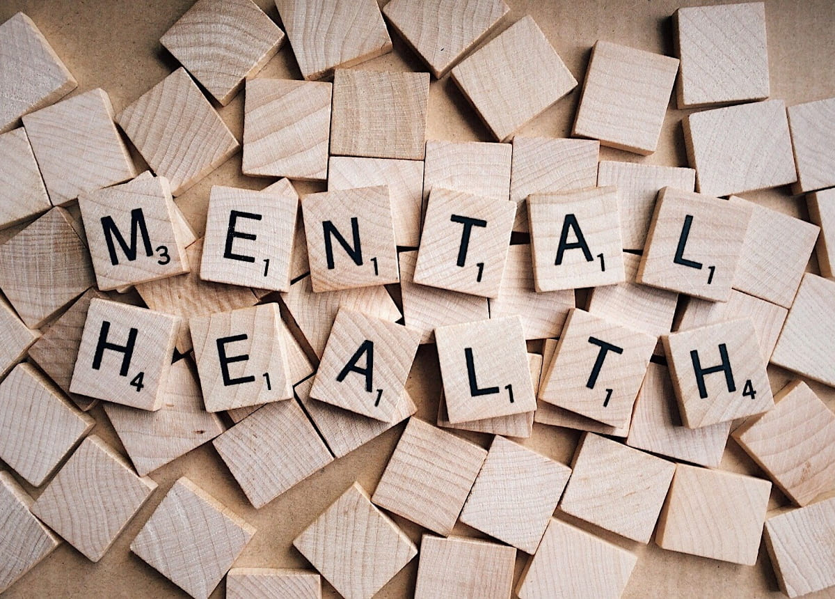 Mental health spelled out in scrabble letters