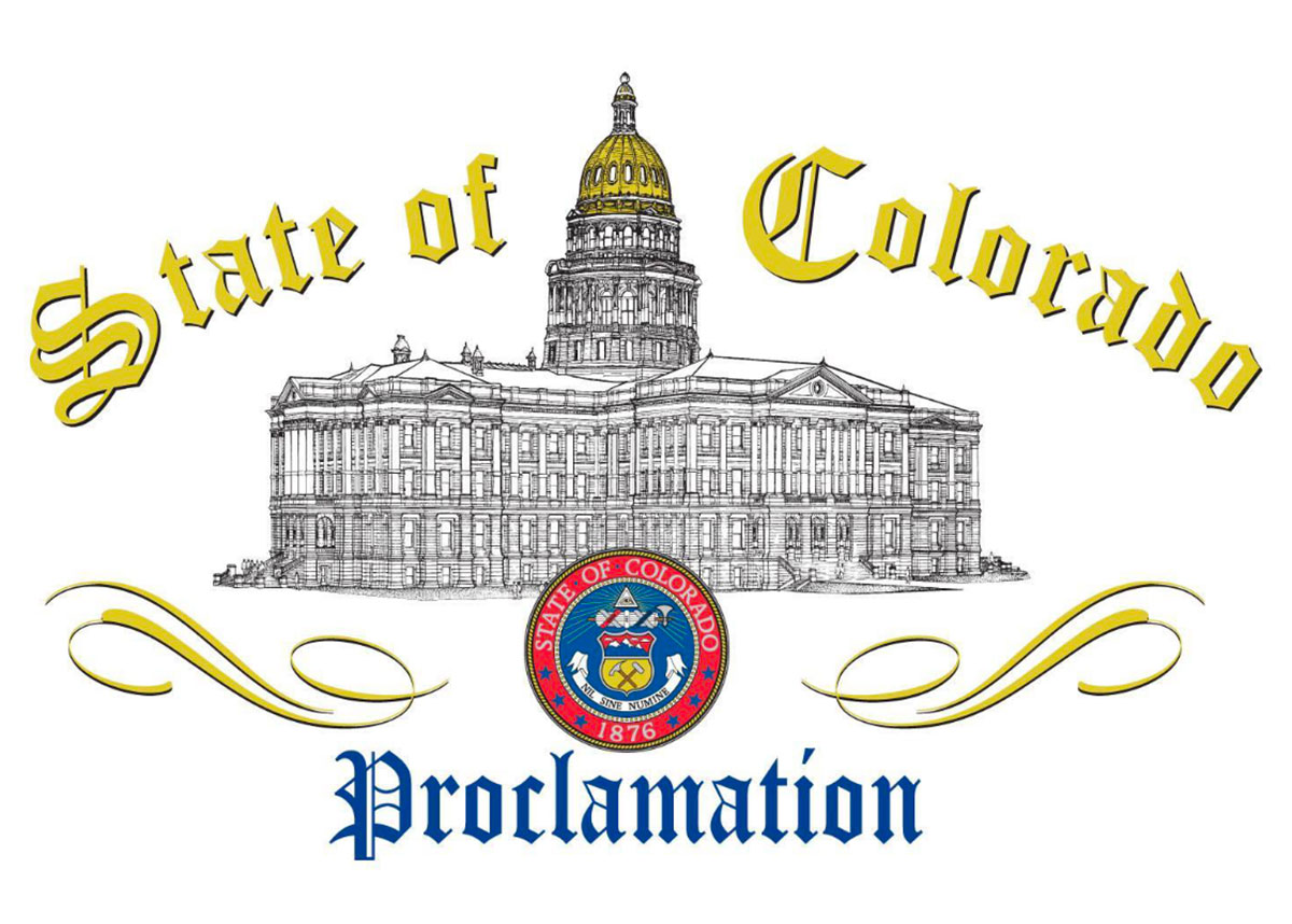 "Drawing of CO capital building with state seal and text, ""State of Colorado Proclamation"""
