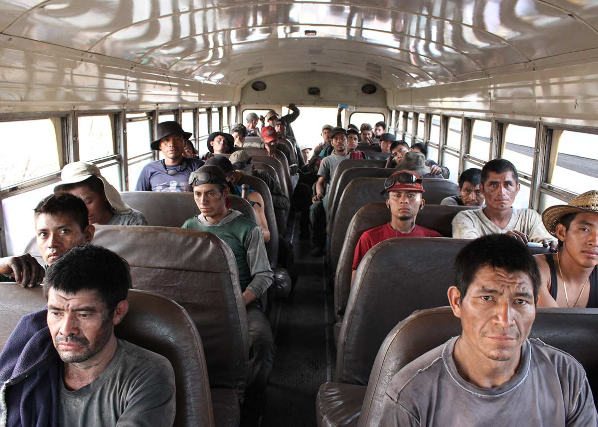group of workers on a bus