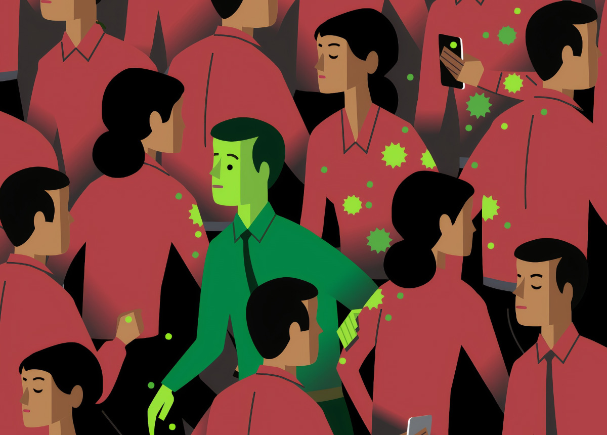 graphic of crowd of people and one person in green symbolizing a person with COVID-19