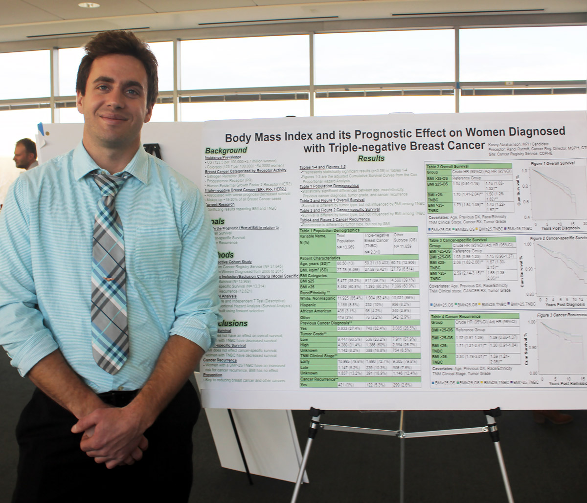 Student standing in front of his research poster