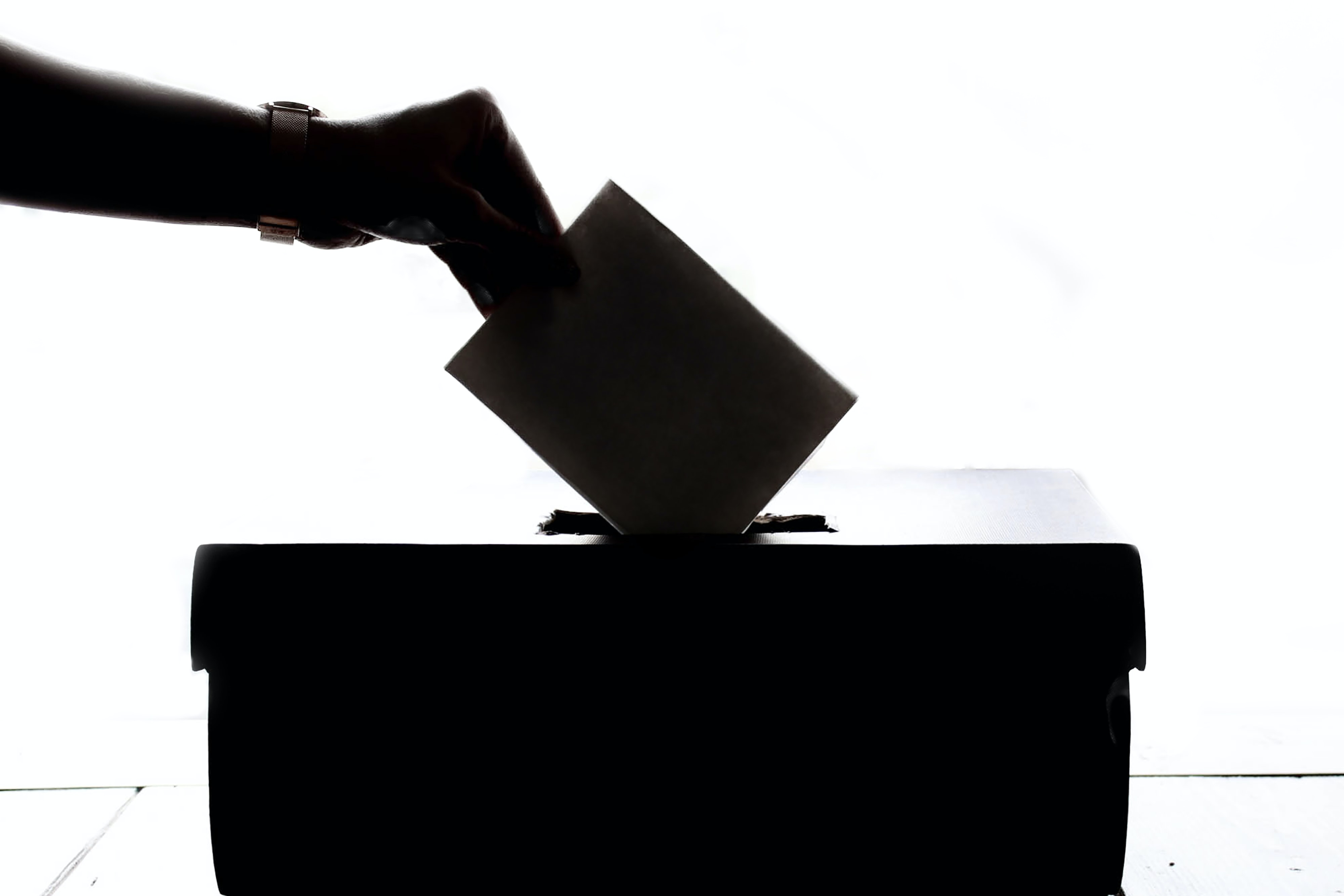 Black and white photo of someone placing a vote into a box