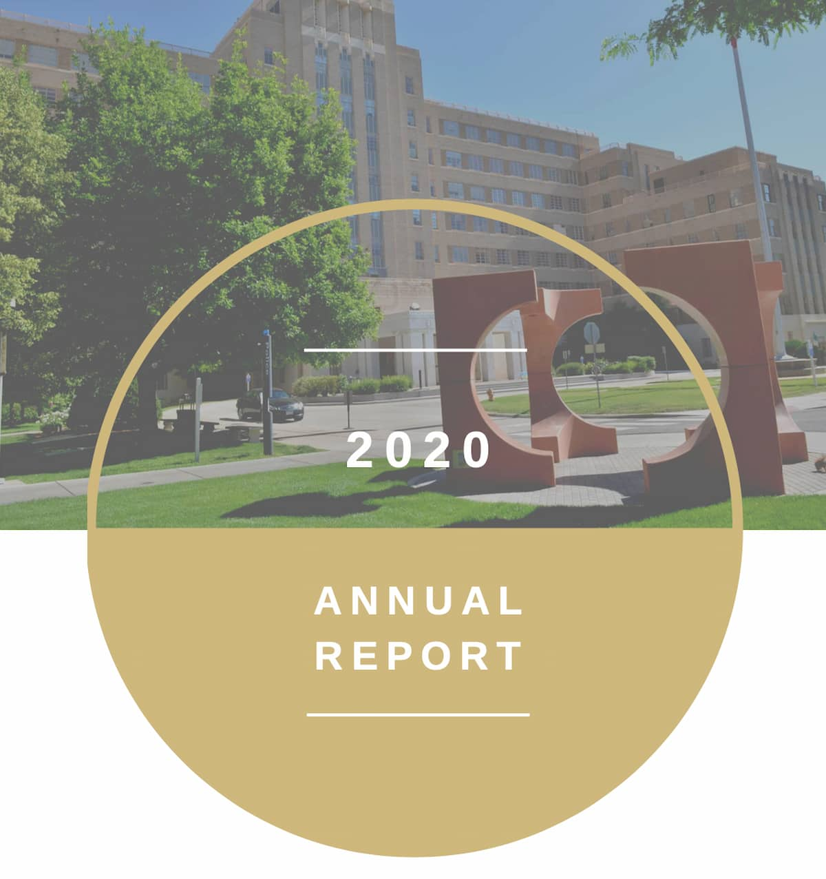 """""""2020 Annual Report"""" with CU Anschutz campus in the background"""